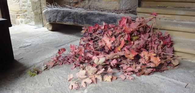 Hojas propias del otoño como recibimiento a los asistentes