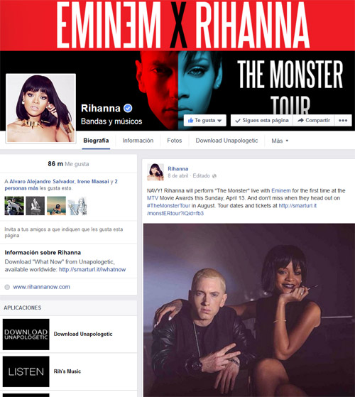Fanpage de Rihanna en FB
