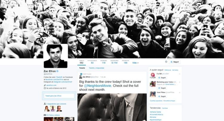 Zac Efron en Twitter